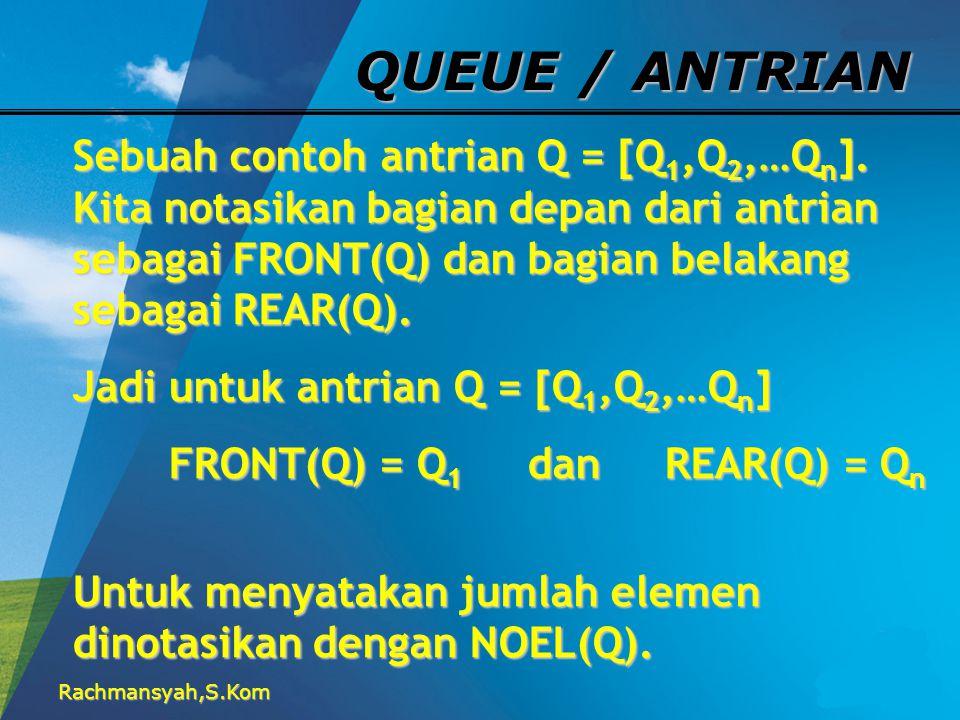 QUEUE / ANTRIAN Sebuah contoh antrian Q = [Q1,Q2,…Qn]. Kita notasikan bagian depan dari antrian sebagai FRONT(Q) dan bagian belakang sebagai REAR(Q).